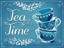 Invitation to the tea party. Retro illustration Tea Time with cu